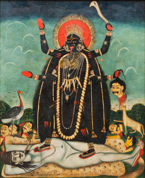 thefeetofkali:  Bengali oil painting of Kali standing on (an interestingly sexless) Shiva. Love that look of pure contentment and adoration, lying beneath Her lotus feet.