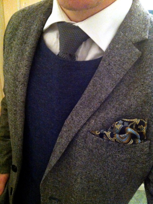 Tweed + knit + cashmere + paisley = perfection