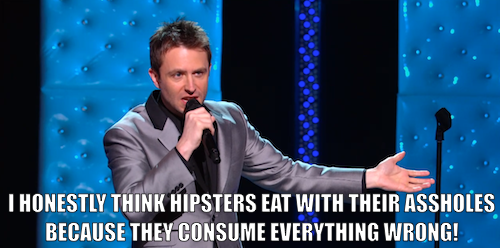 Click the image to watch proud nerd and very funny person Chris Hardwick lament the existence of hipster nerds in a clip from his new stand-up special, Mandroid, premiering Saturday, November 10 at 11/10.