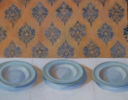 Sarah Spackman, Grandma's China, oil on canvas