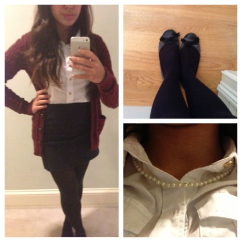 OOTD! (taken with my new iPhone 5!) Oxford- Talbots Cardigan- Abercrombie and Fitch Skirt- LoveCulture Shoes-Marc by Marc Jacobs Pearls- Nordstrom