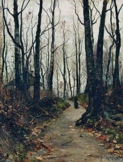 Julius von Klever, A lady walking on the road to the farm, 1887
