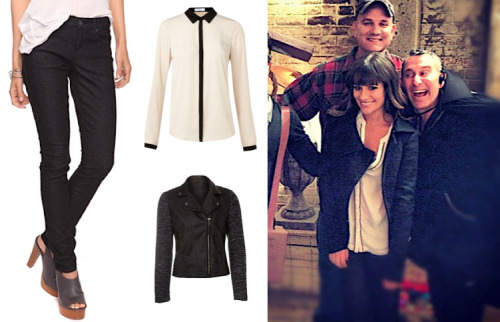 Dress Like Lea Michele: Lea on the Glee Set Black Boucle Sleeve Biker Jacket £44.99 Skinny Black Jean £8.75 Oui Long Sleeve Blouse £63.96