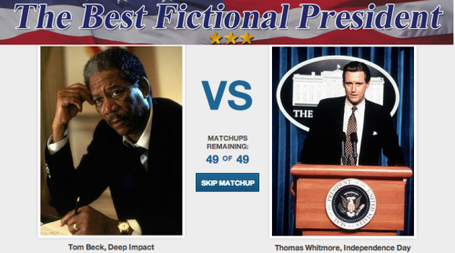 Who's the 'Best Fictional President?' [Click to begin voting] While everyone is waiting to see who wins the vote for President of the United States, we want to figure out who the best fake president is. It's probably of equal importance.  The official voting period ends Monday November 5, 2012 at 12:00PM so get your votes in now.