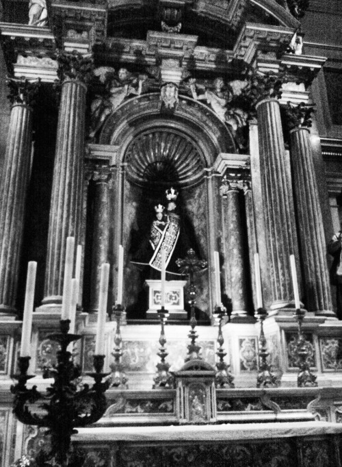 The altar of Our Lady in the Oratory church in London.The statue of Mary is dressed in black, the liturgical colour of the requiem Mass, celebrated for All Souls day.