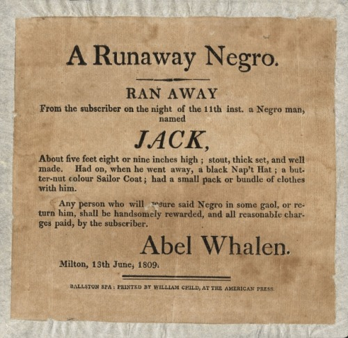 centuriespast:  RUNAWAY NEGRO The Albany Institute of History & Art