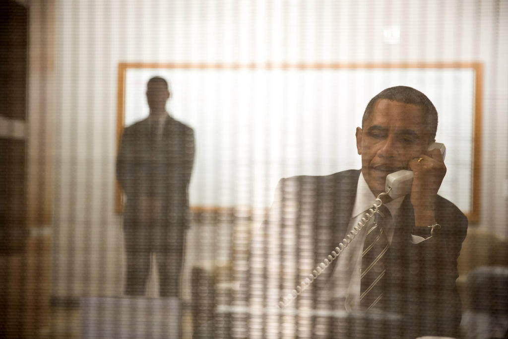 Photo of the Day: President Obama holds a call to update @NYGovCuomo & NY officials on the federal response to #Sandy