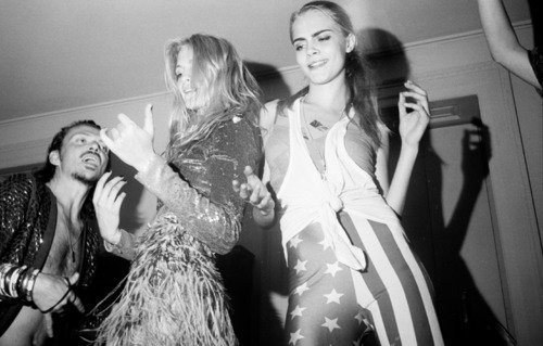 Poppy and Cara Delevingne in Matthew Williamson's birthday party