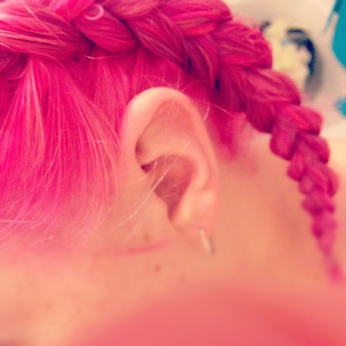 #iphone5 #iphone #iphoneonly #iphoneography #selfie #me #pink #pinkhair #braid #plait