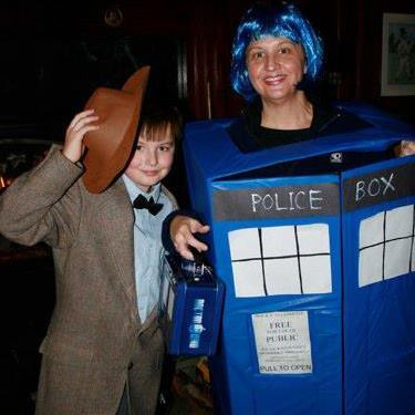 My son and I as the 11th Dr and Tardis.  At Brit's Pub, Minneapolis.