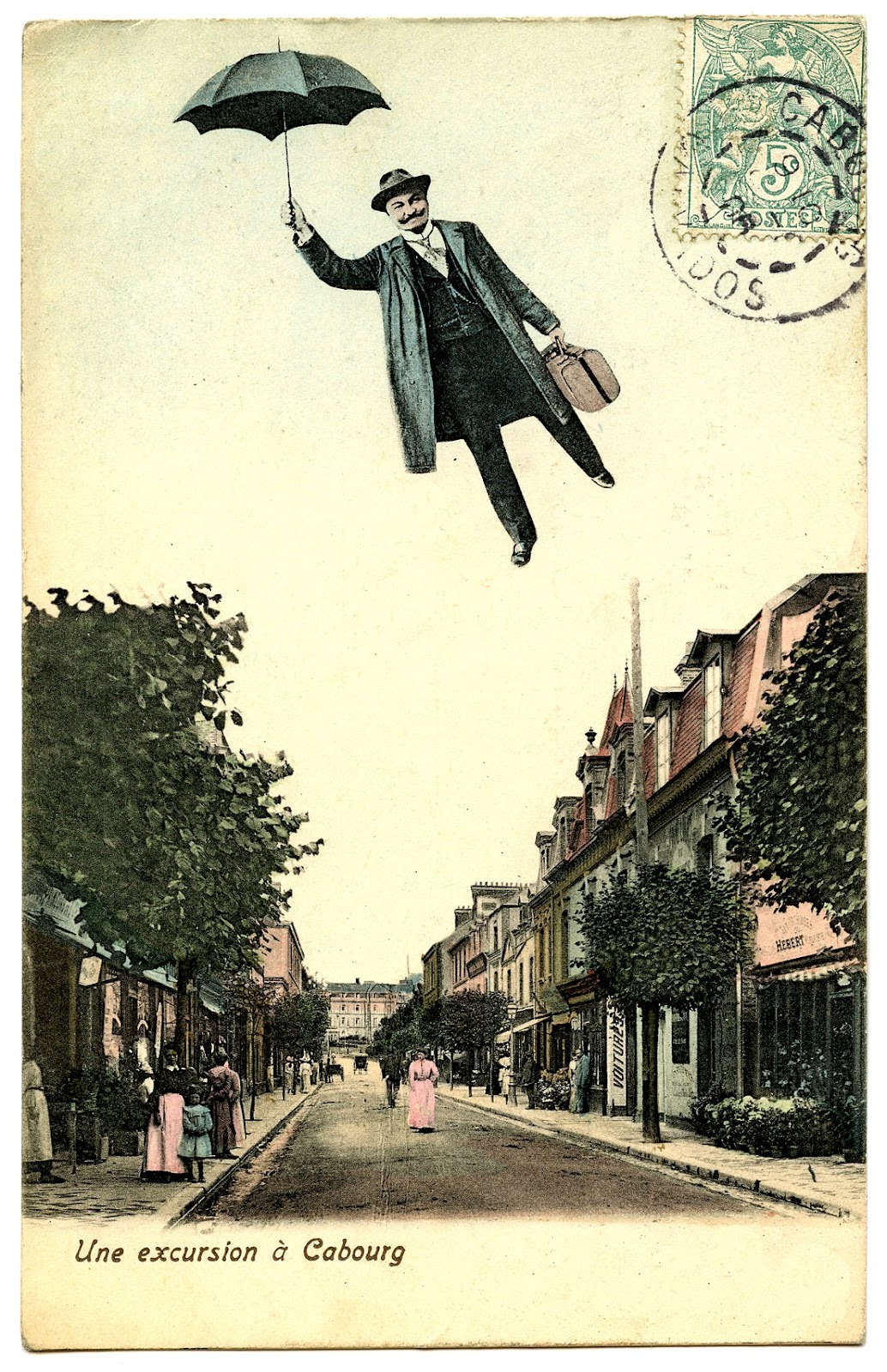 whatistigerbalm:  This is a postcard from the late 1800s but fuck me if it doesn't look 200% like some infernal Mary Poppins / V for Vendetta crossover. In some alternate universe I'll bet a lung that Alan Moore wrote that.