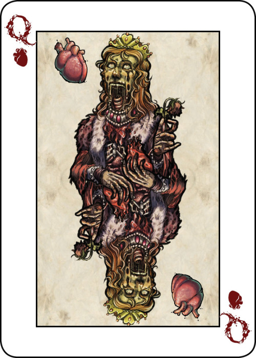 A zombie-inspired deck of playing cards with custom illustrations by Obsidian Abnormal.