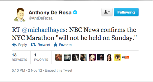 New York City Marathon has been officially cancelled, according to NBC. No word on a reschedule date.