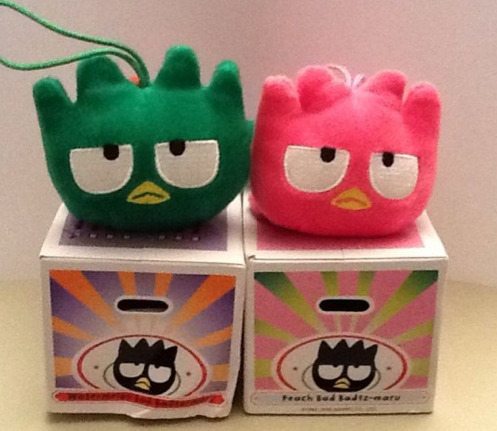 Watermelon (green) & Peach (pink) Badtz-Maru (from 2005 McDonald x Sanrio Fruit Nation Series)
