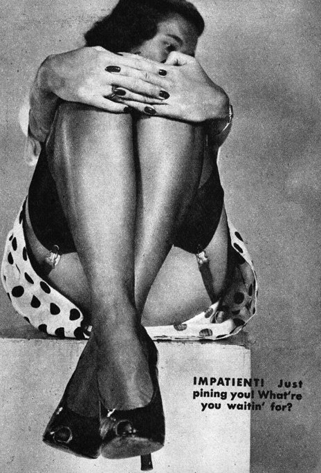 Legs Reveal the Woman Type #4 (Impatient) c.1950 detail from an image found here Vintage Scans