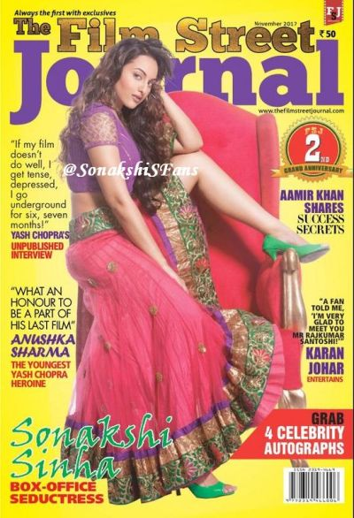 Sonakshi Sinha (@sonakshisinha) on the cover of The Film Street Journal - November 2012