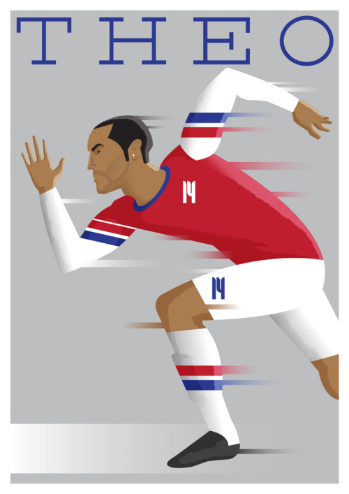 'Theo Walcott' I wanted to address the image of Walcott as purely a speed merchant. I've heard a few people say he is just a sprinter that plays football. This informed the classic sprinter leaving the blocks stance.  TO PURCHASE A PRINT CLICK HERE