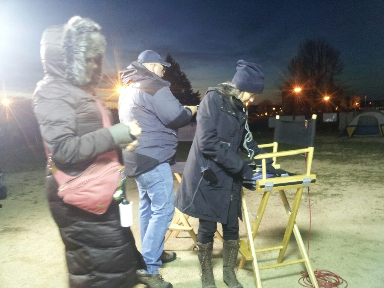 Preparing for the live broadcast from the Bainport protest encampment inFreeport, IL, at about 6:30 am on Oct 31 2012.