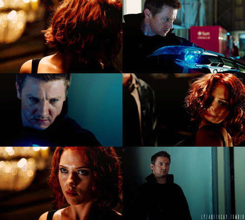 natasha & clint; red & blue  'we are both broken'