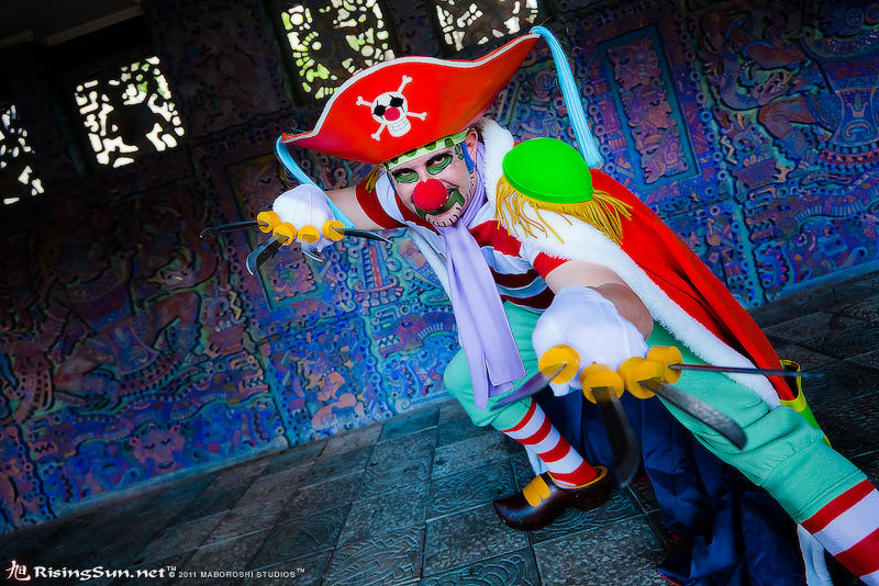 sockdreams:   My Buggy the Clown costume! I couldnt have done it without these EPIC socks. They were the Rugby Stripped Knee Highs from I got from Sock Dreams! Photo by Maboroshi of Risingsun.net  (submitted by Shawn Tuffy) SD: Terrifyingly good use of rugby stripes! Check out the other entries! We are always accepting Submissions, and are happy to take your questions and comments in our Ask Box! ♥Zaffie Find us on facebook | twitter | pinterest | sock journal | g+