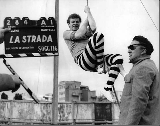 stevebolander:  On the set of La Strada (1954).