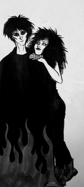 scribblemylife:  A quick doodle of Dream and Death form Neil Gaiman's Sandman.