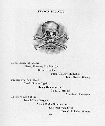 """List of members of the 1920 delegation of Skull and Bones, Yale University, New Haven, Connnecticut. The list includes the two founders of TIME magazine, later Time Incorporated, Briton Hadden and classmate Henry Robinson Luce. Published in the Yale Banner newspaper, Vol. 12, The Yale Banner and Pot Pourri, 1919-1920. Courtesy of the Yale University Manuscripts & Archives Digital Images Database. Retouched by MarmadukePercy."" skull and bones"