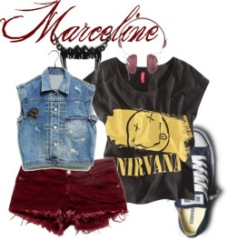 Marceline by bibi-862 featuring a denim vestH&M , $16 / Denim vest, $100 / Necklace / Wesc , $115