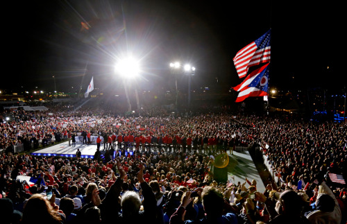 Between 18,000 and 30,000 people rallied for Romney tonight in West Chester, Ohio, according to pool reports. (Photo: Associated Press)