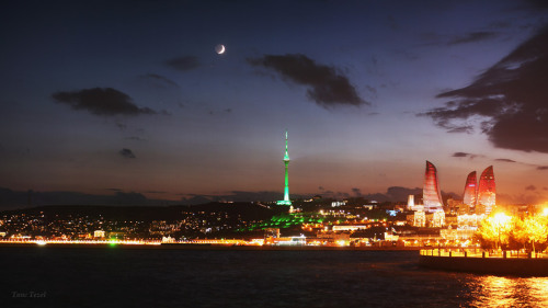 A Fiery Baku Evening  Crescent Moon, Mars and Antares shine over the skyline of Baku in an autumn evening.