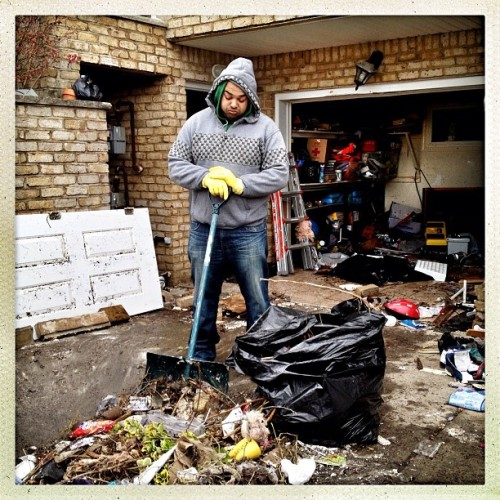 benlowy:  Staten Island, NY | November 2, 2012 Mughal Fahad takes a break from cleaning out all that remains of his worldly possessions from a first floor apartment that was completely flooded during the hurricane Sandy storm surge. Newly wed, Fahad and his wife are now staying with relatives in Brooklyn. #photography #photojournalism #documentary #mobilephotography #nyc #statenisland #sandy #hurricanesandy (at Fr. Capodanno Blvd)