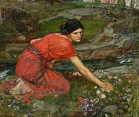 John William Waterhouse Maidens Picking Flowers by the Stream, detail 1909-14