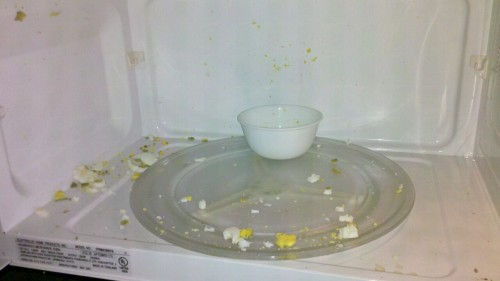 So this is what happens when you try to heat up a hard-boiled egg (shell removed) in the microwave. At least it was okay for me to be late going in to work today as a result.