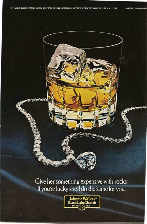 Johnnie Walker. Ad from Playboy, December 1981.