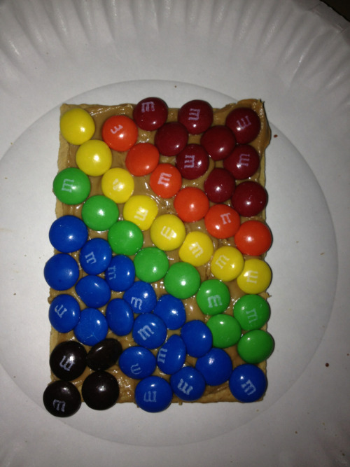The latest creation hahah. M&Ms, and peanut butter on a s'mores pop tart hahha, plus OCD color coordination