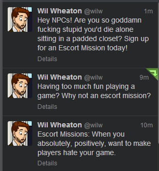 Wil Wheaton's feelings on escort missions…
