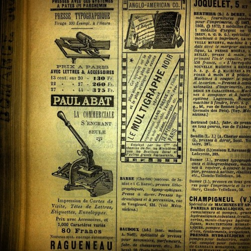 ampersanden:  #letterpress machine france 1890