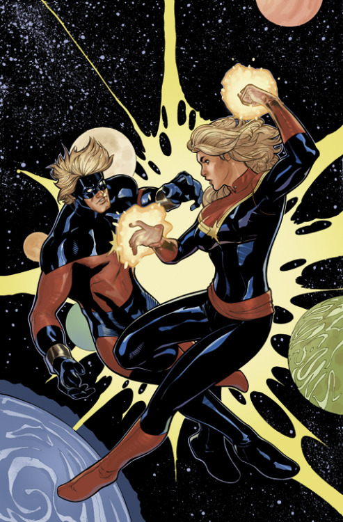 noahbodie:  Captain Marvel Vol 6 #6 cover by Terry and Rachel Dodson, featuring Marvels in both classic and modern flavors