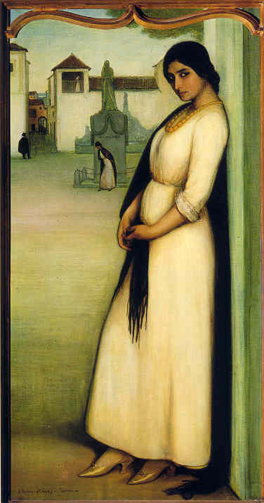 heaveninawildflower:  Poema de Córdoba (Córdoba judía) 1913 by Julio Romero de Torres. (Third panel).Source [1] Wikimedia.
