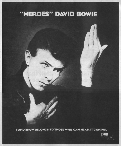 superseventies:  David Bowie, 'Heroes', promotional advertisement, 1977.