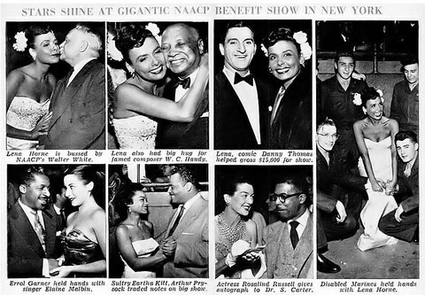 Incredible photo set featuring Lena Horne, Eartha Kitt, Rosalind Russell and more from Jet's April 9, 1953 issue. It was an NAACP Benefit show and Ms. Horne is featured with the head of the NAACP, Walter White; the iconic composer W.C. Handy, legendary comedian Danny Thomas and four disabled Marines. Jazz pianist Errol Garner is pictured with singer Elaine Malbin and Eartha Kitt and shown with jazz musician Arthur Prysock. Actress Rosalind Russell is shown with Dr. S. Carter.