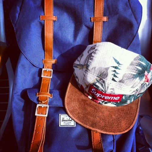 Personal belongings #Backpack #Campcap #Redboxlogo #supreme #supremenyc #Herschel #BlueAndWhite
