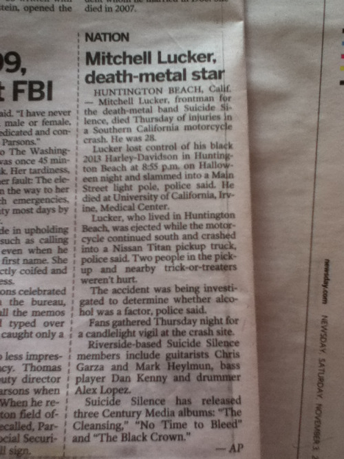 thesinglemomentofsincerity:  Found this in my newspaper this morning  R.I.P. Mitch Lucker