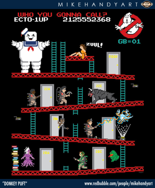 This great Donkey Kong meets Ghostbusters T-shirt design, 'Donkey Puft' by Mike Handy, is available to buy now over at his RedBubble store!