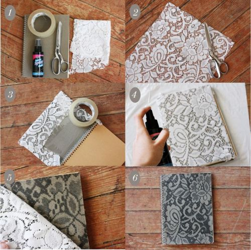 fuckyeahbookarts:  How to Make a Lace Patterned Notebook (by abeautifulmess)