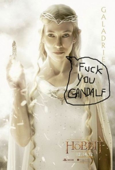 It looks like Galadriel is flipping the bird in the new character poster for the Hobbit.  How did they not catch this? WTF PJ?!