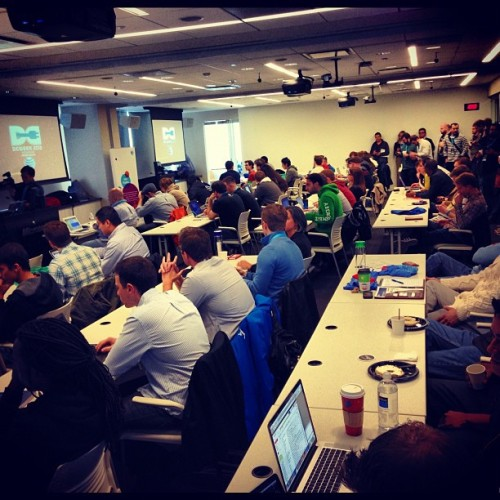 The #dcweek hackathon is standing room only :)
