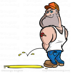 Redneck Hillbilly Trucker Peeing Cartoon Character on Flickr.