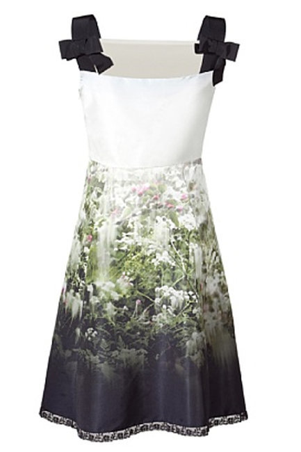 Valentino White Lawn Printed Faille Dress
