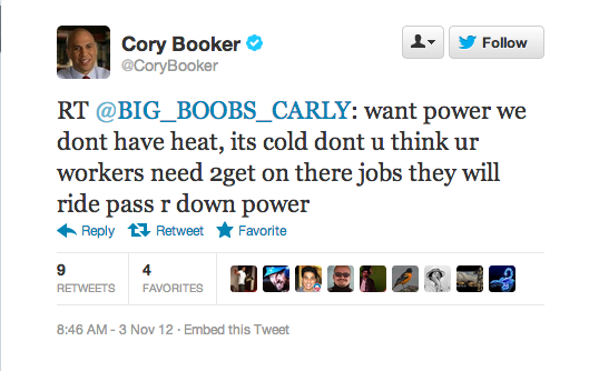 Here's Newark Super-Mayor Cory Booker helping out one of his favorite constituants. Of course he totally ignored the ridiculousness of her Twitter handle and told her to DM him for more help. Let's just hope the DM's stopped there. Big Boobs Carly is not the girl for you, Mayor Booker!